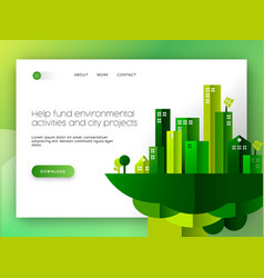 green city eco friendly web landing page design vector image