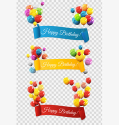Group of colour glossy helium balloons with ribbon vector