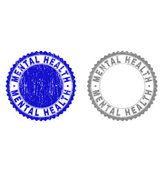 grunge mental health textured stamps vector image