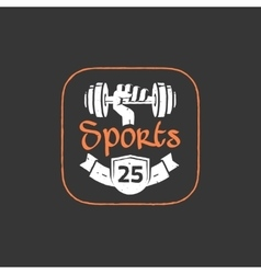 Gym workout logo emblem isolated on dark vector