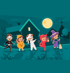 halloween city trick-or-treaters costumed kids vector image