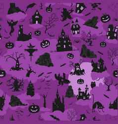 halloween holiday seamless pattern flat design vector image