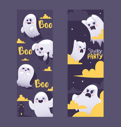 Halloween night ghosts invitation vector