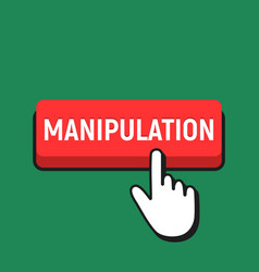 Hand mouse cursor clicks the manipulation button vector