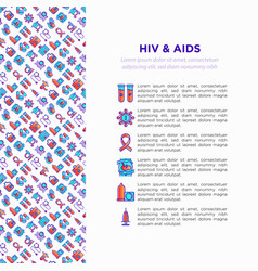 Hiv and aids concept with thin line icons vector