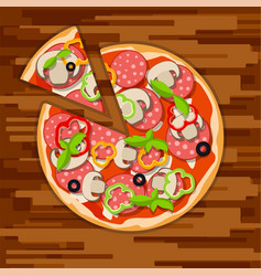 Hot italian round pizza with cut piece paperoni vector