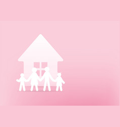 house and family paper 3d on pink background vector image