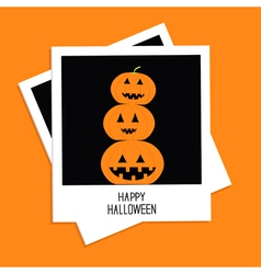 Instant photo with three funny pumpkins Halloween vector image