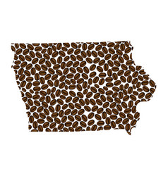 Iowa - map of coffee bean vector