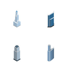 isometric construction set of building tower vector image