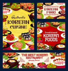 Korean cuisine authentic food restaurant menu vector