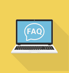 Laptop with frequently asked questions solution vector