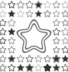 Line star logo design set vector
