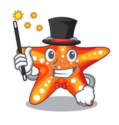 magician underwater sea in the starfish mascot vector image