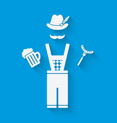 Man in national dress with beer mug and sausage vector image