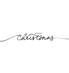 merry christmas brush lettering vector image