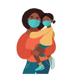 Mother and daughter wear medical masks virus vector