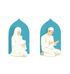 muslim doing a prayer in ramadan festival vector image
