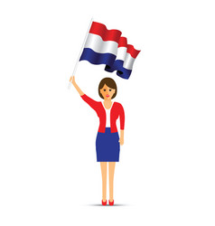 netherlands flag waving woman vector image