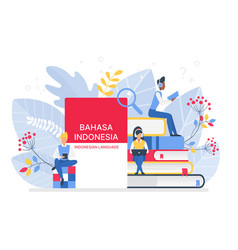 Online indonesian language courses flat vector