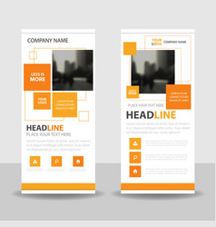 Orange square business roll up banner flat design vector