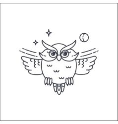 Owl liliar ilustration vector