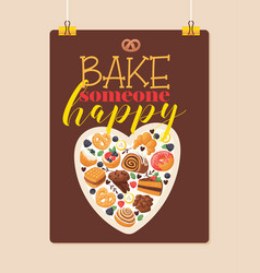 pastry baked cake cream cupcake and sweet vector image