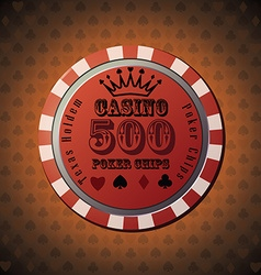 Poker chip 500 on orange background vector