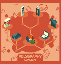 Polygraphy color isometric concept icons vector
