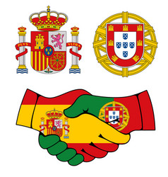 Portugal and spain coat arms handshake vector