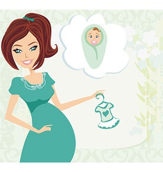Pregnant woman it has a birth to a girl - baby vector