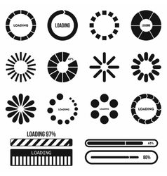 Progress bar and loading icons set in simple style vector image