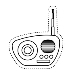 Retro radio device isolated icon vector