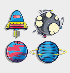 Rocket with different planets in the galaxy space vector