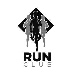 Run club icon jogging people silhouettes vector