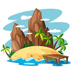 Scene with island in the sea vector image vector image