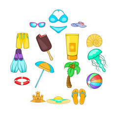 sea tour icons set cartoon style vector image