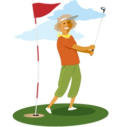 Senior female golfer vector image