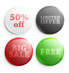 Set glossy sale buttons vector