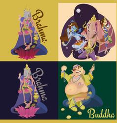 set isolated hindu gods meditation in yoga vector image