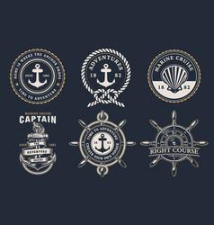 set marine badges vector image
