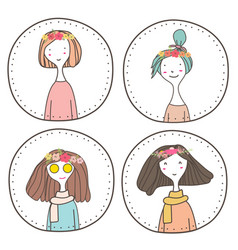 set of cute girls character design vector image