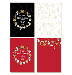 set of merry christmas creative handdrown cards vector image