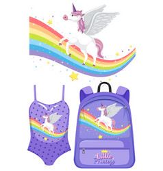 Set unicorn children costume vector