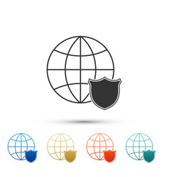 shield with world globe icon isolated on white vector image