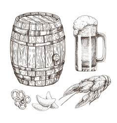 Snack food for beer and wooden alcohol storage vector