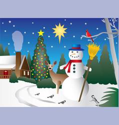 snowman in christmas scene vector image