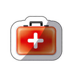 sticker color suitcase with blood donation kit vector image