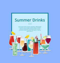 Summer drink poster with cocktails and champagne vector