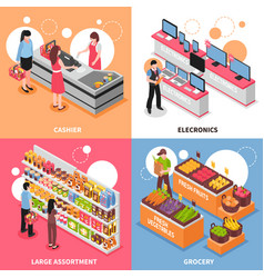 supermarket isometric concept icons set vector image